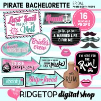 Ridgetop Digital Shop | Pirate Bachelorette Photo Booth Props | Bridal Shower | Hen Party | Lady Pirate