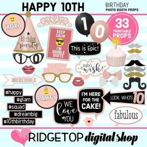 10th Birthday Rose Gold Photo Booth Props Printable Download