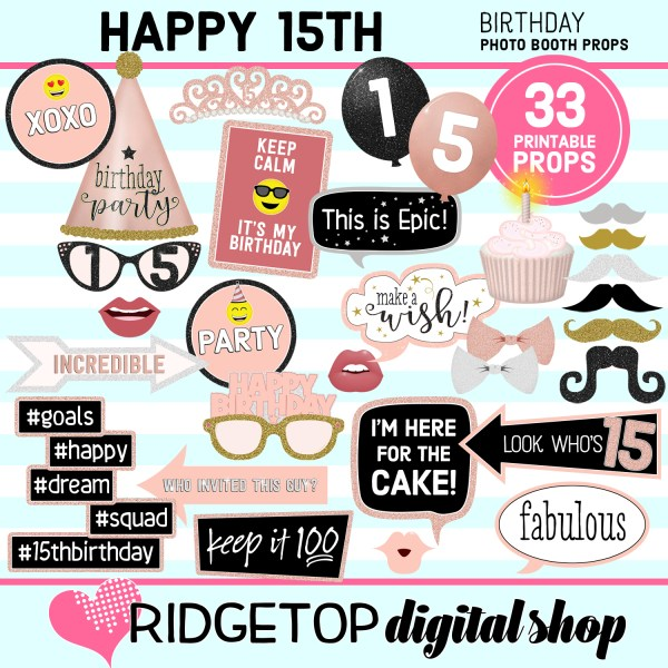 15th birthday rose gold photo booth props printable download