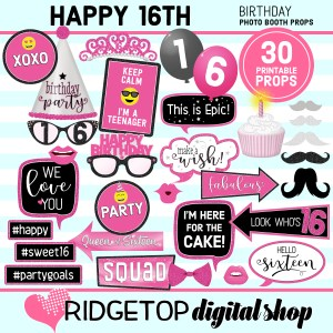 Ridgetop Digital Shop 16th Birthday Printable Hot Pink Photo Booth Props