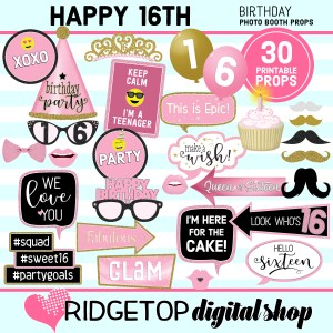 Ridgetop Digital Shop 16th Birthday Printable Photo Booth Props