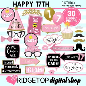 Ridgetop Digital Shop 17th Birthday Printable Photo Booth Props