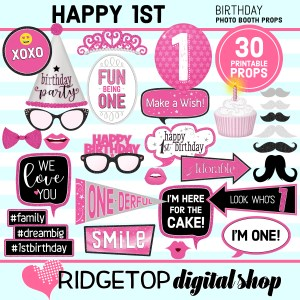 Ridgetop Digital Shop 1st Birthday Printable Pink Photo Booth Props