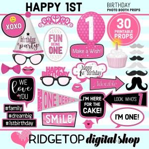 Ridgetop Digital Shop 1st Birthday Printable Pink Photo Booth Props