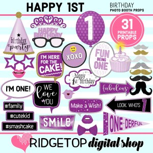 Ridgetop Digital Shop | 1st Birthday Party Purple Printable Photo Booth Props
