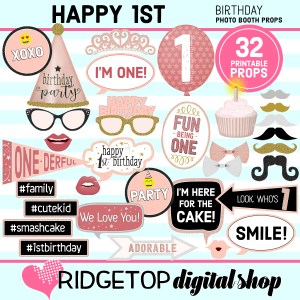 1st Birthday Rose Gold Photo Booth Props Download Printable