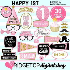 Ridgetop Digital Shop 1st birthday printable photo booth props