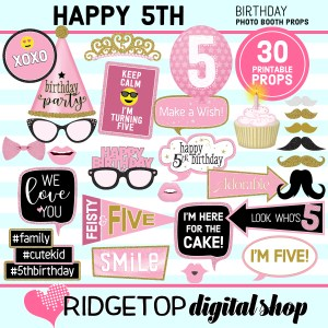 Ridgetop Digital Shop 5th Birthday Printable Photo Booth Props