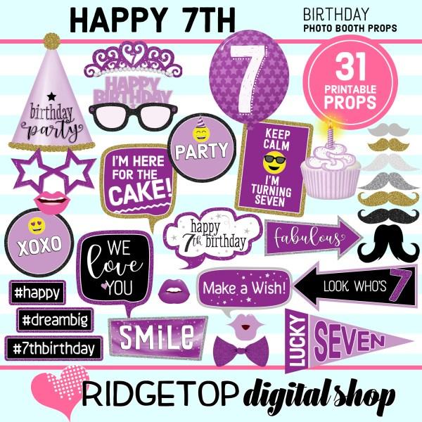 Ridgetop Digital Shop 7th Birthday Printable Purple Photo Booth Props