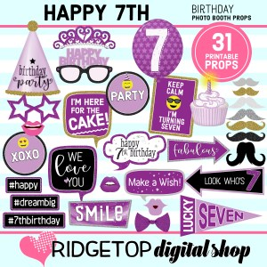 Ridgetop Digital Shop 7th Birthday Printable Purple Photo Booth Props