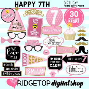 Ridgetop Digital Shop 7th Birthday Printable Photo Booth Props