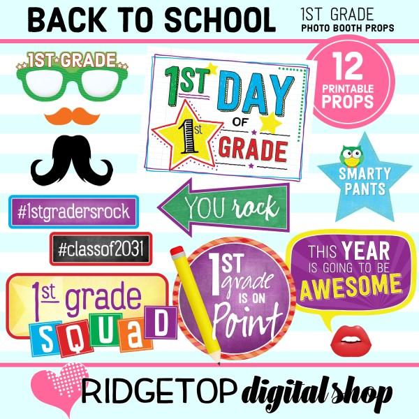 Ridgetop Digital Shop Back to School 1st Grade Printable Photo Booth Props