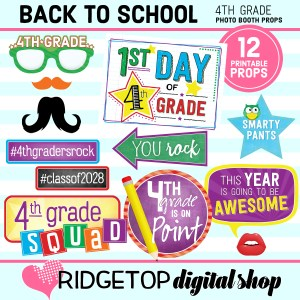 Ridgetop Digital Shop Back to School 4th Grade Printable Photo Booth Props