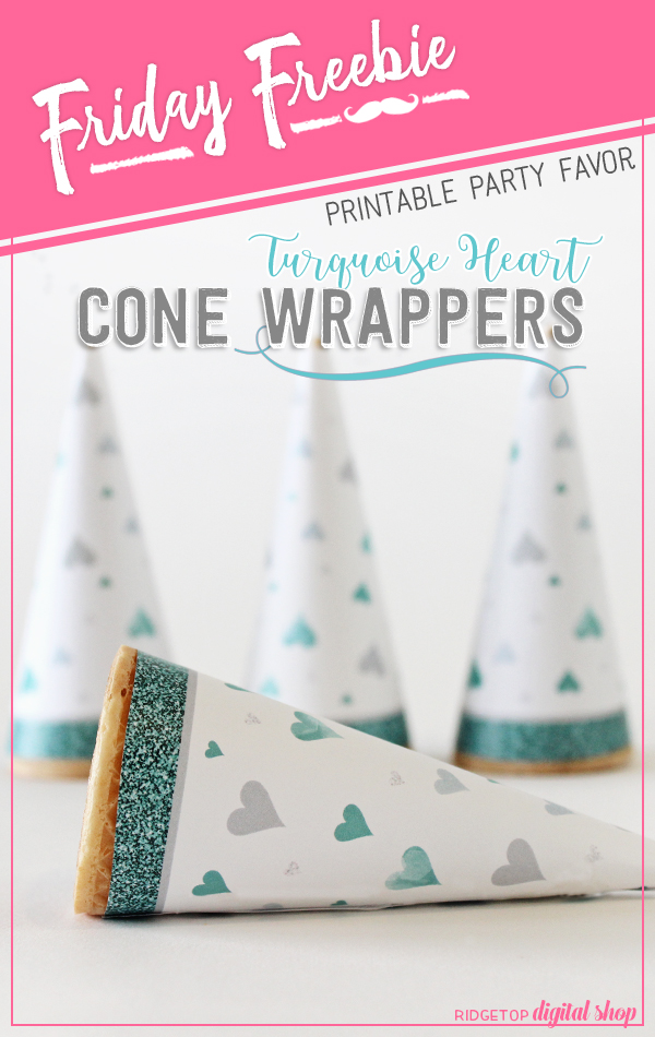 Ridgetop Digital Shop | Friday Freebie | Free Printable Turquoise Heart Cone Wrapper