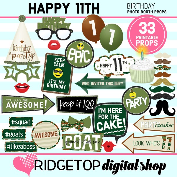 Ridgetop Digital Shop | 11th birthday party printable camo photo booth props
