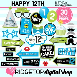 Ridgetop Digital Shop | 12th birthday printable photo booth props