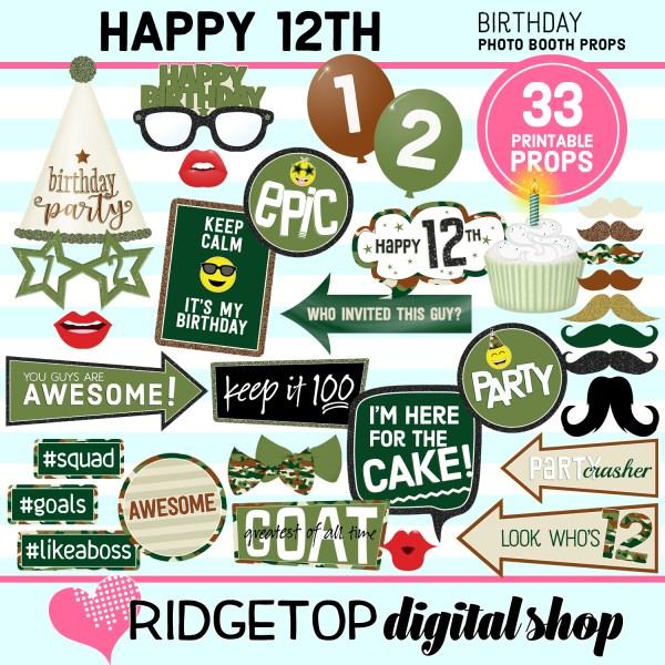 Ridgetop Digital Shop | 12th birthday party printable camo photo booth props