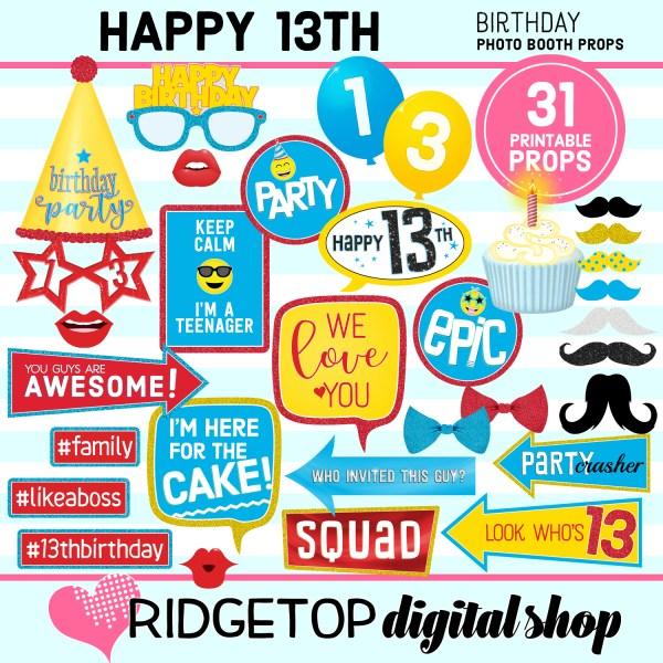 Ridgetop Digital Shop | 13th birthday party printable