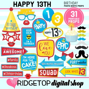 Ridgetop Digital Shop | 13th birthday party printable