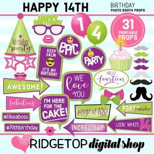 Ridgetop Digital Shop | 14th birthday printable photo booth props