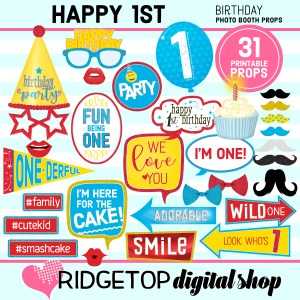 Ridgetop Digital Shop | 1st birthday party printable