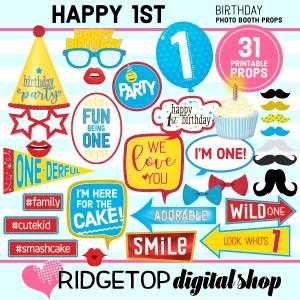 Ridgetop Digital Shop | 1st birthday party printable