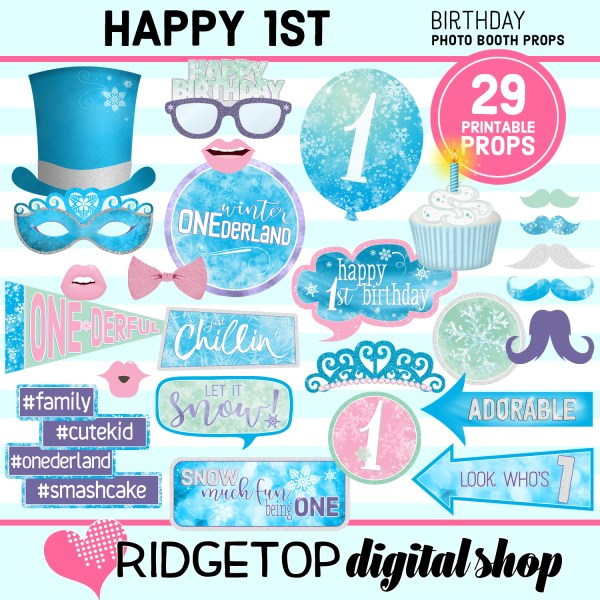 Ridgetop Digital Shop | 1st birthday party winter onederland printable photo booth props