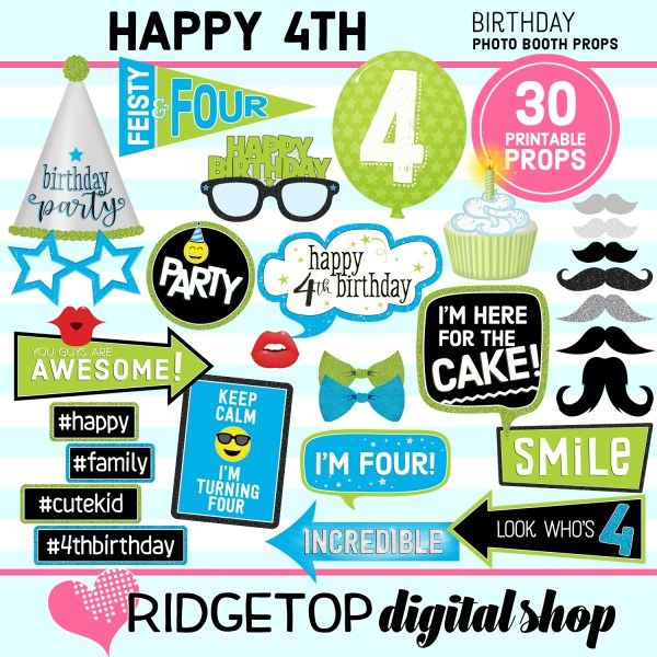 Ridgetop Digital Shop | 4th Birthday Printable Photo Booth Props