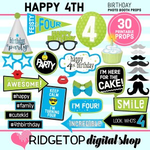 Ridgetop Digital Shop | 4th Birthday Printable Photo Booth Props
