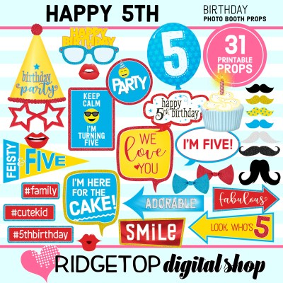Ridgetop Digital Shop   5th birthday party printable