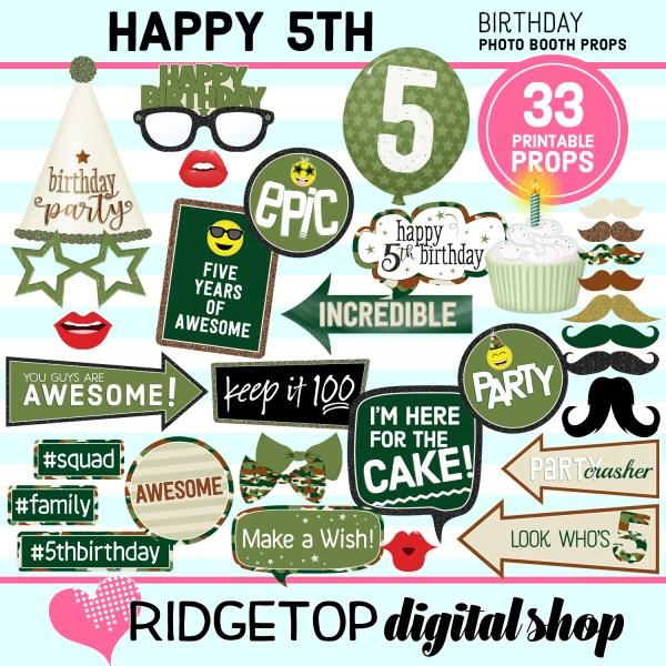 Ridgetop Digital Shop | 5th birthday party printable camo photo booth props