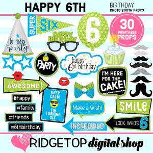 Ridgetop Digital Shop | 6th Birthday Printable Photo Booth Props