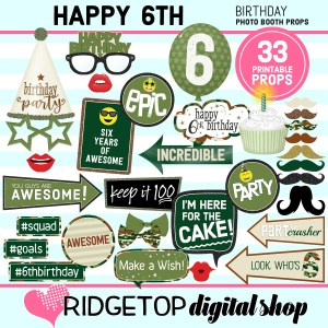 Ridgetop Digital Shop | 6th birthday party printable camo photo booth props