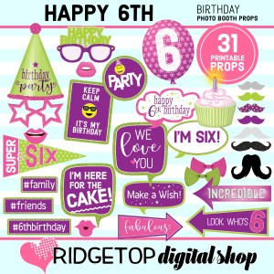 Ridgetop Digital Shop | 6th birthday printable photo booth props