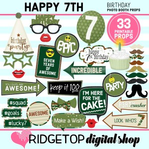 Ridgetop Digital Shop | 7th birthday party printable camo photo booth props