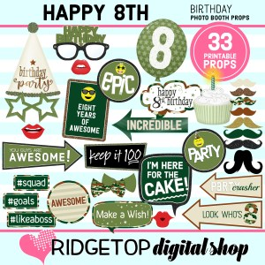 Ridgetop Digital Shop | 8th birthday party printable camo photo booth props