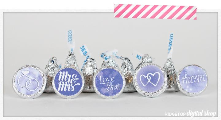 Ridgetop Digital Shop | Victorian Lilac Wedding Candy Stickers | Wedding Favor | Hershey Kiss Stickers | Printable Freebie
