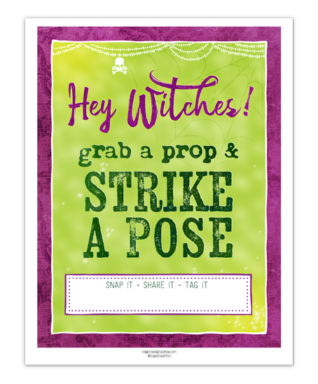 Ridgetop Digital Shop | Friday Freebie | Photo Booth Sign | Halloween Witches | Ghouls Gone Wild | Free Printable