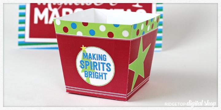 Ridgetop Digital Shop | Snapshot Printable | Christmas Party Snack Box Party Favor Free Printable | Making Spirits Bright