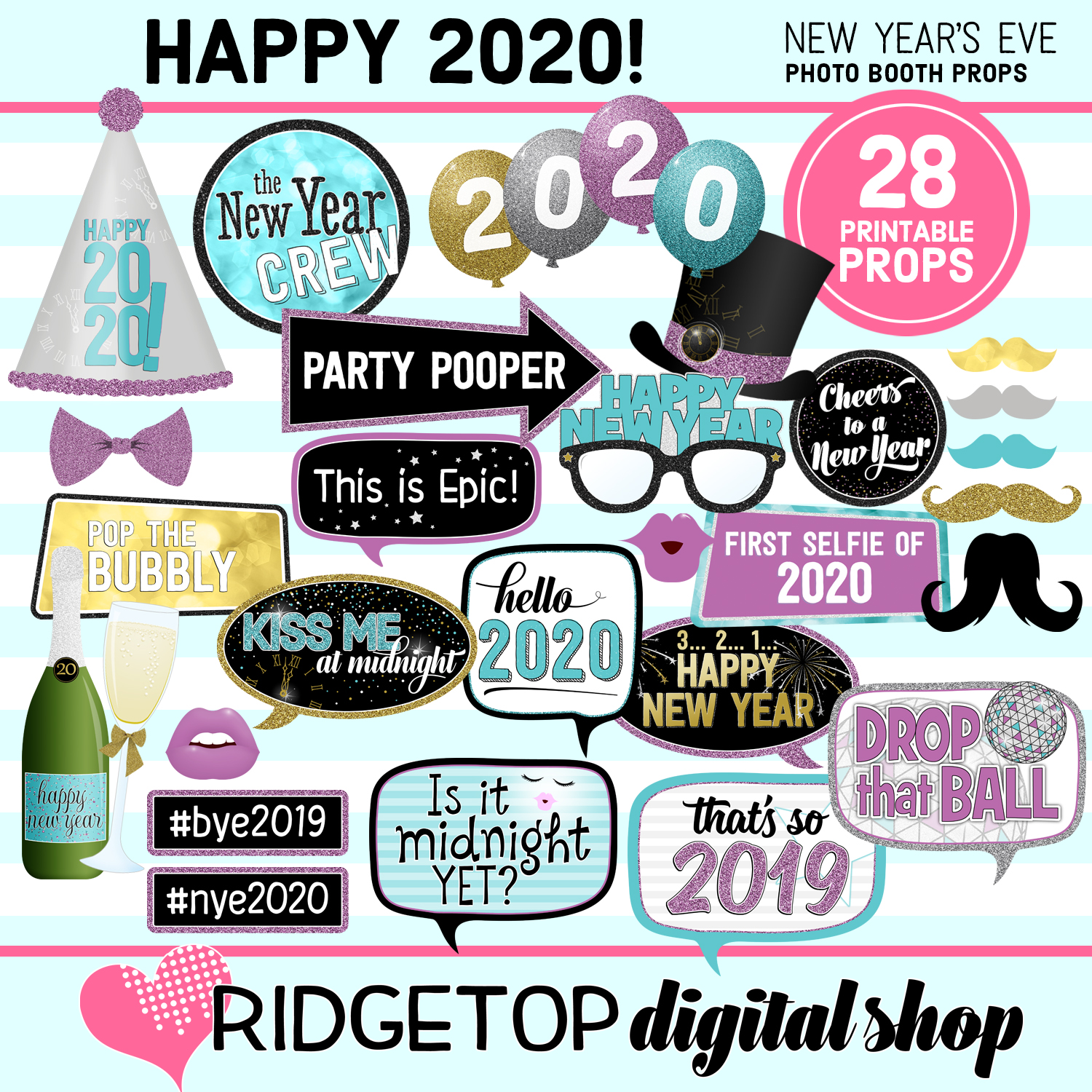 New Year's Eve 2020 Party Photo Booth Props