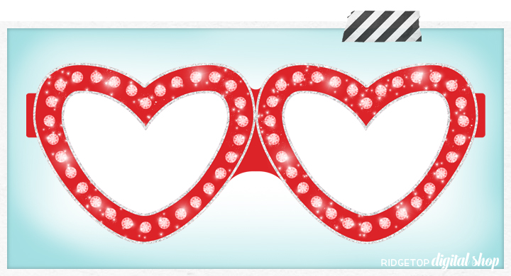 Ridgetop Digital Shop | Friday Freebie | Red Hot Glasses | Free Printable Photo Prop