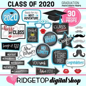 Class of 2020 | Graduation Party photo booth props | Ridgetop Digital Shop