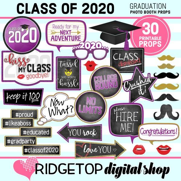 Ridgetop Digital Shop | Printable Graduation Photo Booth Props