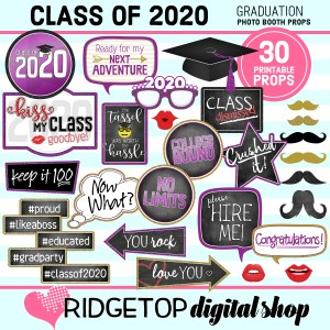 Ridgetop Digital Shop | Printable Graduation Photo Booth Props