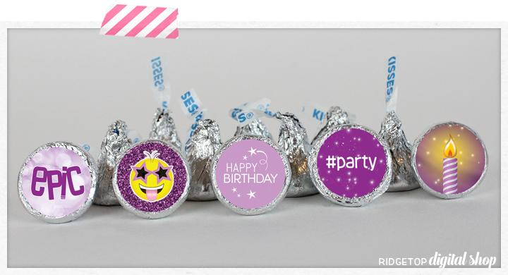 Ridgetop Digital Shop | Friday Freebie | Purple Birthday Candy Stickers | Hershey Kiss Stickers