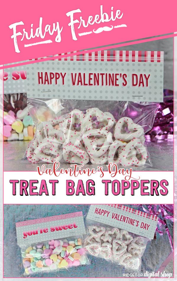 Valentine Free Printable   Valentine's Day Treat Bag Topper   Classroom Goodie Bag Topper   Friday Freebie   Ridgetop Digital Shop