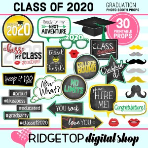 Class of 2020 | Graduation Party photo booth props | Ridgetop Digital Shop
