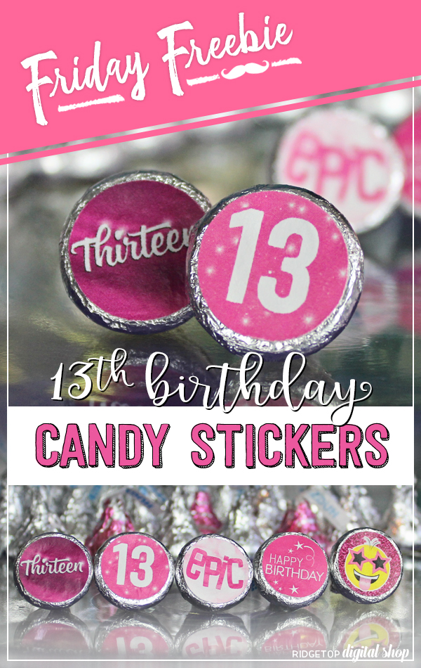 Pink 13th Birthday Candy Stickers Free Printable | Pink Birthday Party Printable | Ridgetop Digital Shop