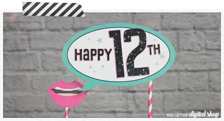 Ridgetop Digital Shop   Birthday Photo Booth Props   12th Birthday Printables