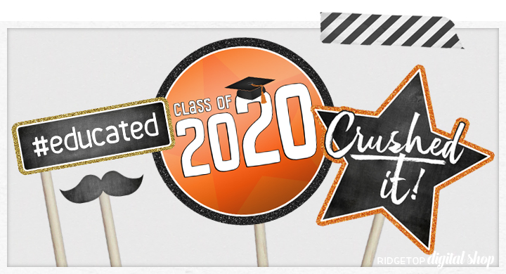 Class of 2020 Photo Booth Props   Orange and Black Party Planning   Printable Graduation Party Decor   Ridgetop Digital Shop